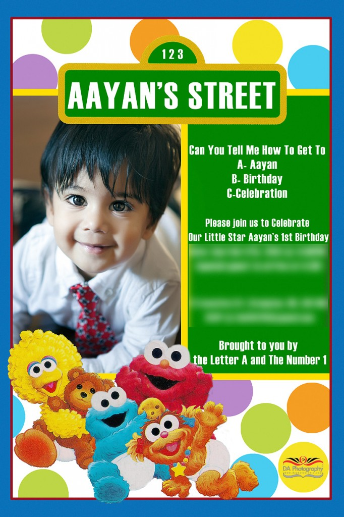 Aayans 1st birthday portrait session by da photography at brampton children portrait under the christmas tree sesame street birthday card invitation by da photography stopboris Image collections