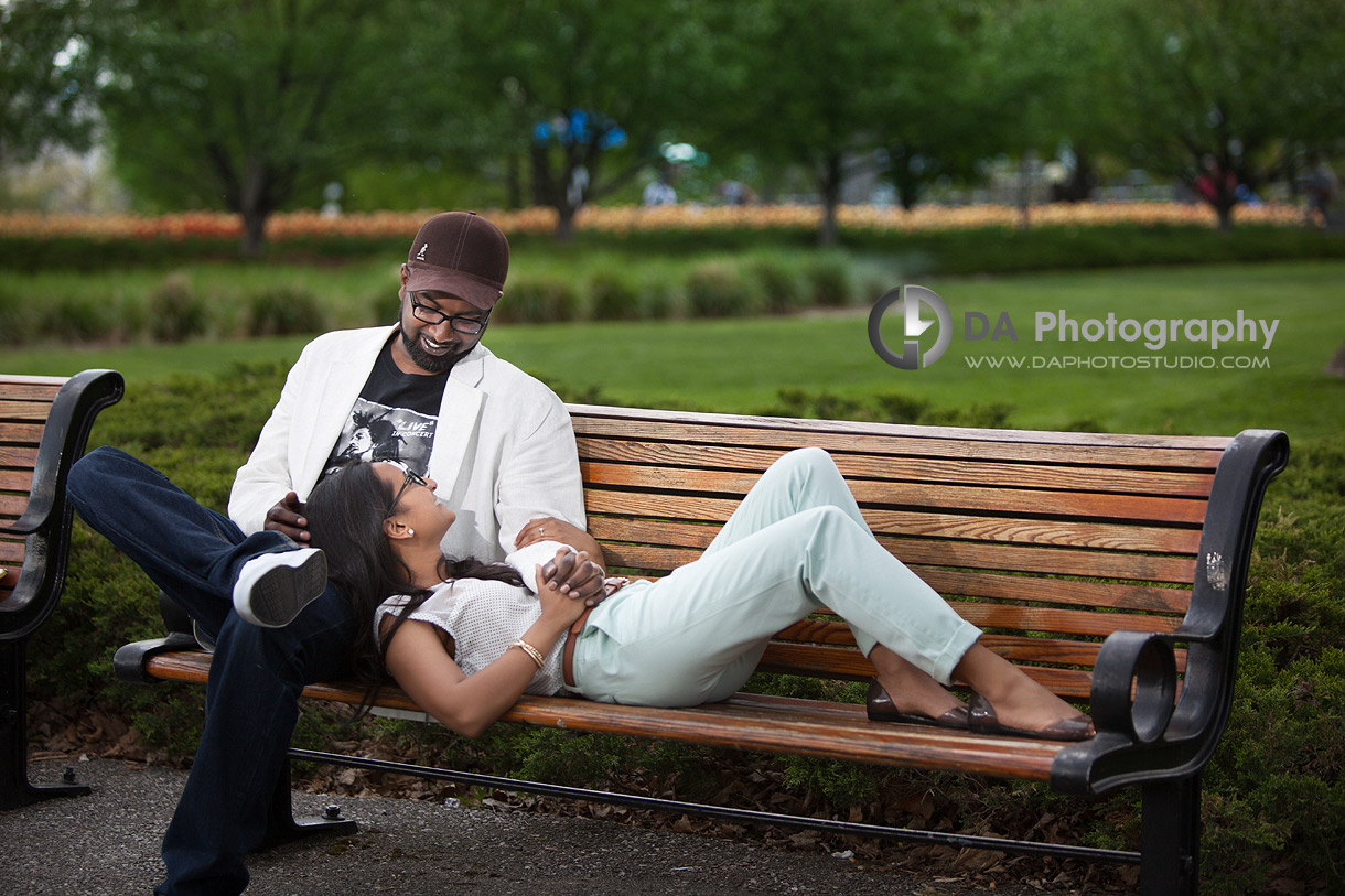At the park bench - Engagement Photographer