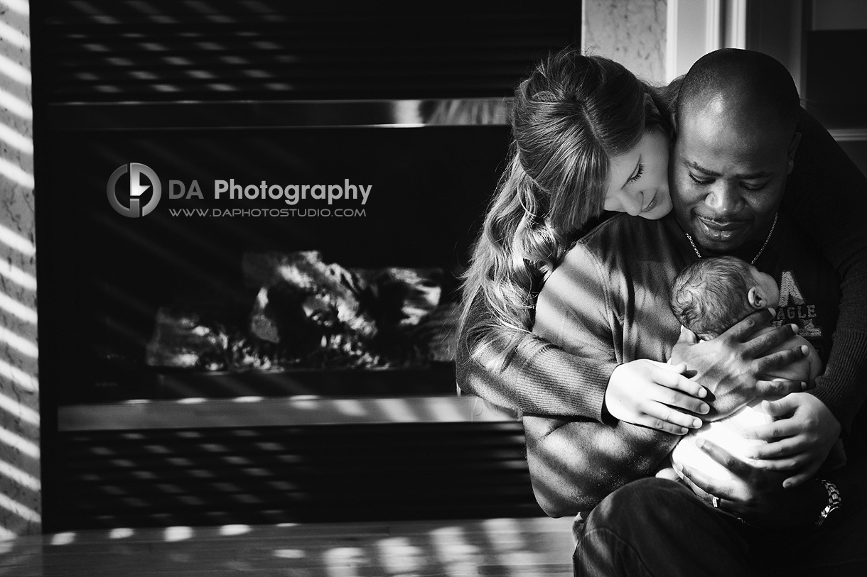Family joy by the fireplace - Newborn Local Photographer