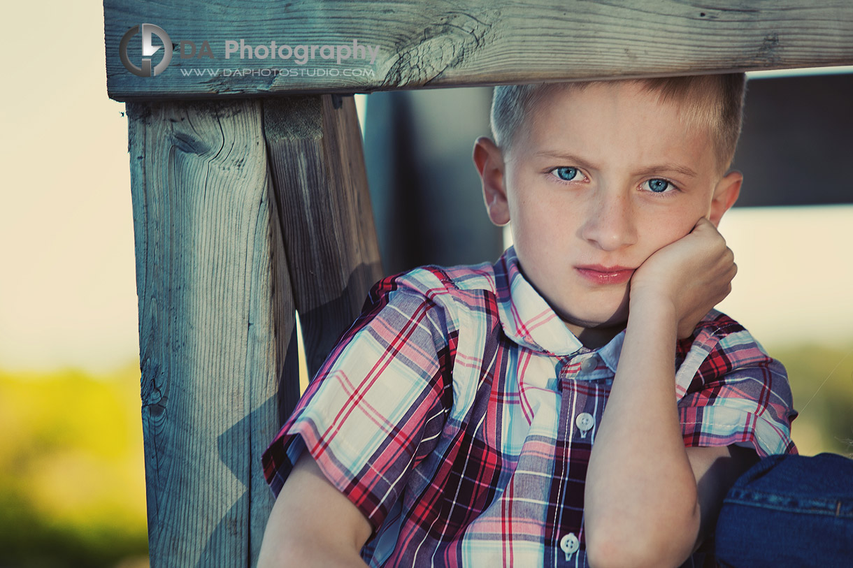 Pensive Boy's Portrait During Outdoor Photo Session - Family Photography by Dragi Andovski - Barrie, ON