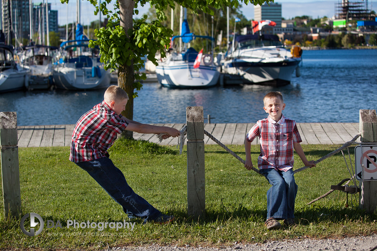 Children's Waterfront Photo Shoot - Brothers Joking Around - Family Photography by Dragi Andovski - Barrie, ON