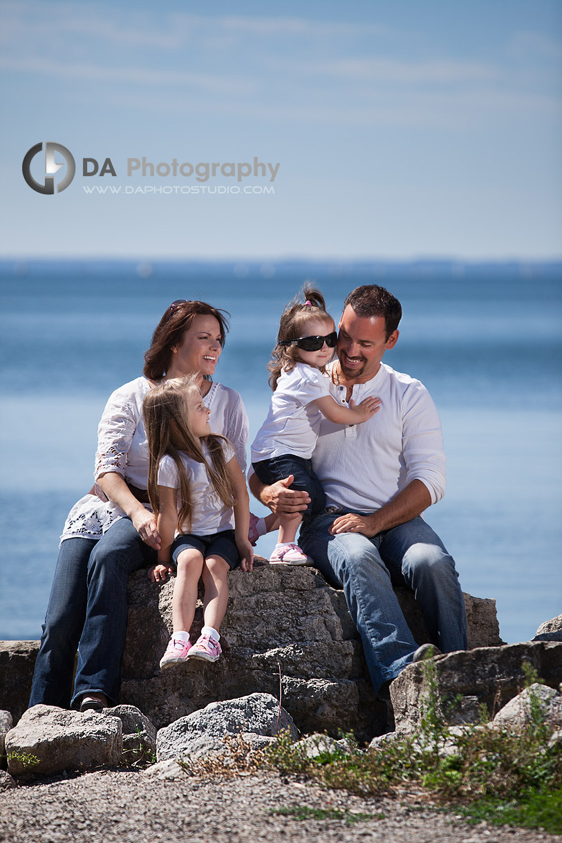 Family Portrait by the lake - at Gairloch Gardens, Oakville by DA Photography , www.daphotostudio.com