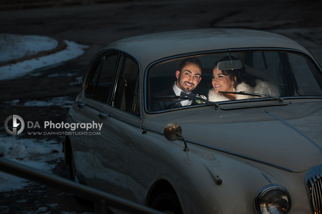 Night drive in a Buggy Car - Winter wedding at Liberty Grand by DA Photography , www.daphotostudio.com