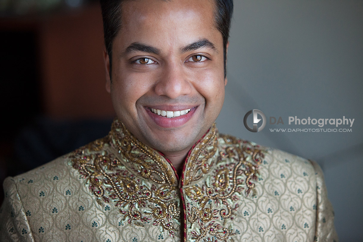 Groom on his wedding day at Grand Empire in Brampton