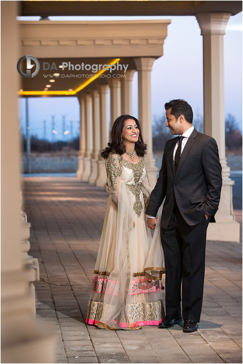 Sunset Portrait of Bride and Groom at Grand Empire Banquet Hall in Brampton