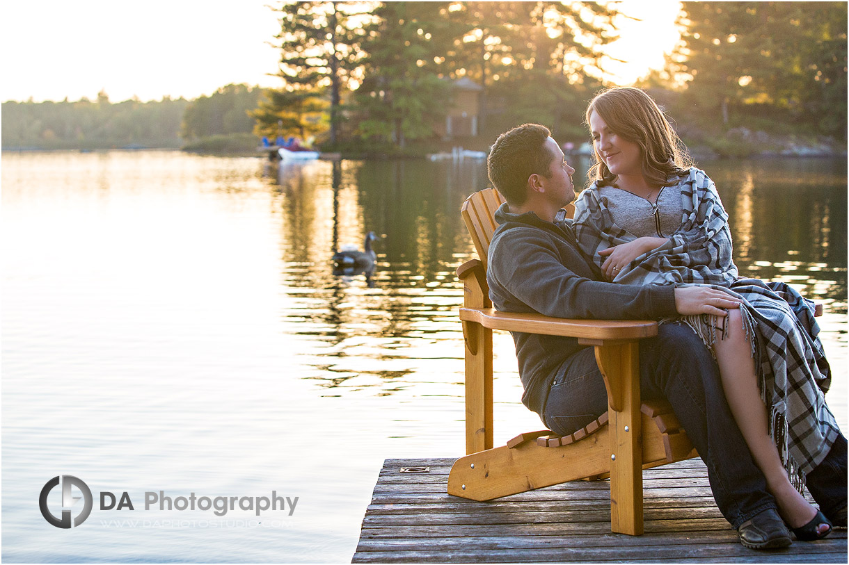 Fall Engagement Photo by the lake in Muskoka