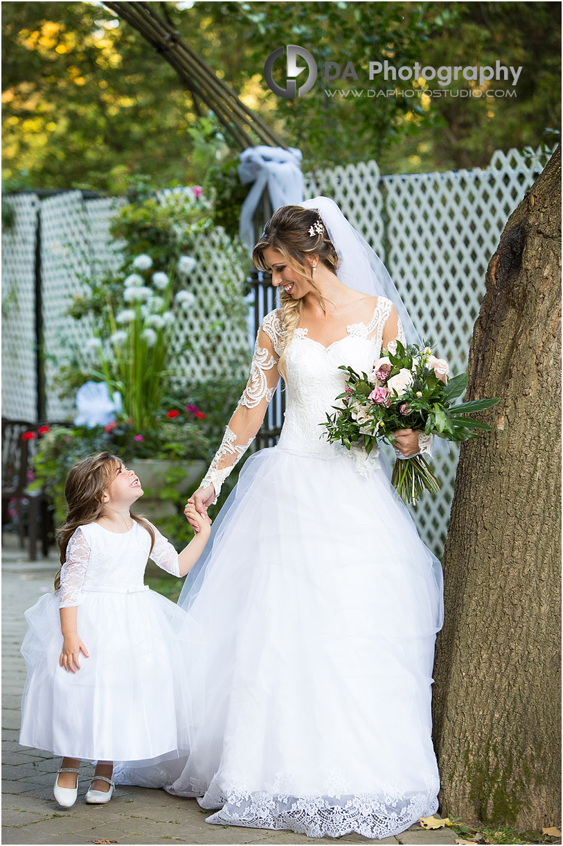 Bride and Flower girl at Old MIll