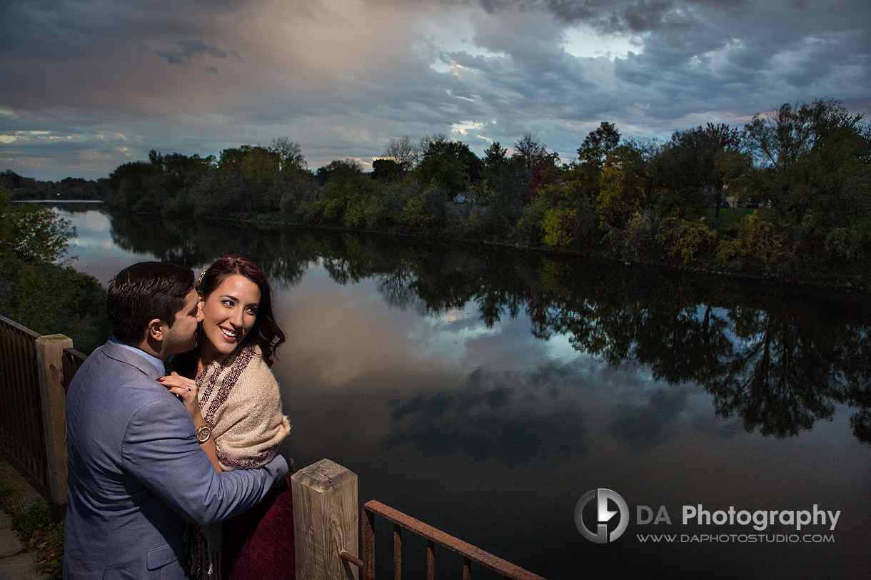 Engagement Photo by Grand River in Cambridge